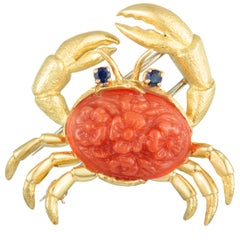 Tiffany & Co. 18 Karat Yellow Gold Coral and Sapphire Crab Brooch