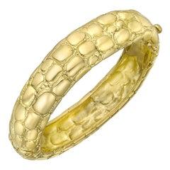 Tiffany & Co. 18 Karat Yellow Gold Crocodile Bangle Bracelet