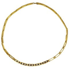 Tiffany & Co. 18 Karat Yellow Gold Diamond and Blue Sapphire Link Necklace