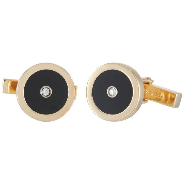 Tiffany & Co. 18 Karat Yellow Gold Diamond and Onyx Cufflinks
