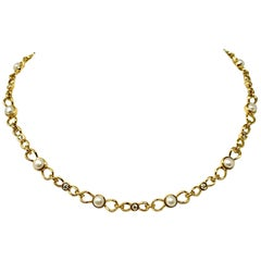 Tiffany & Co. 18 Karat Yellow Gold Diamond and Pearl Link Necklace