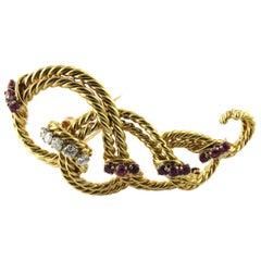 Tiffany & Co. 18 Karat Yellow Gold Diamond and Ruby Rope Brooch Pin