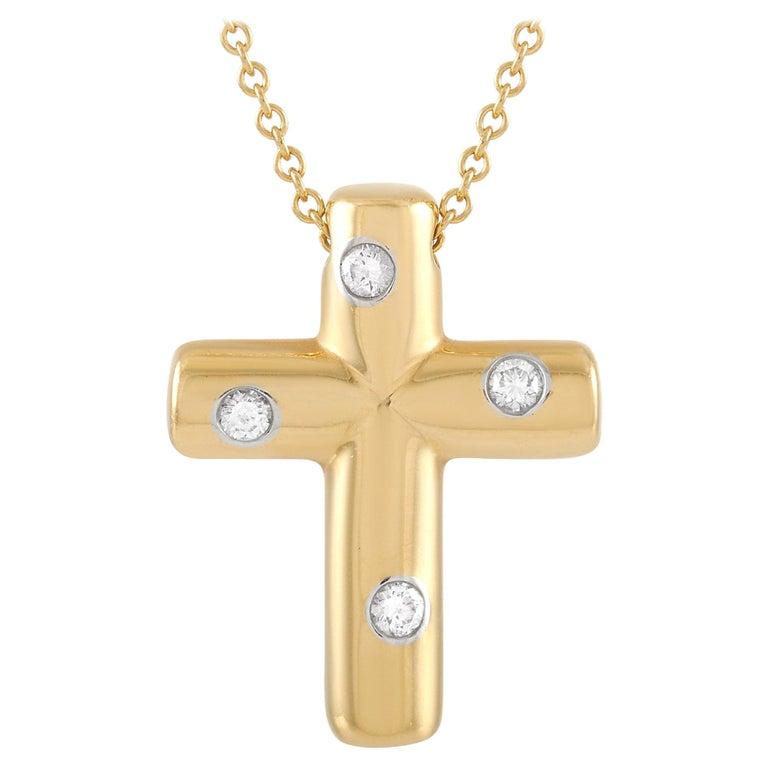 Tiffany & Co. 18 Karat Yellow Gold Diamond Cross Pendant Necklace For Sale