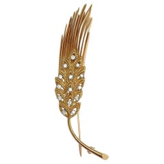 Tiffany & Co. 18 Karat Yellow Gold Diamond Wheat Sheaf Pin