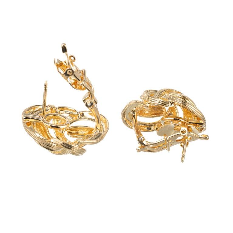 Women's Tiffany & Co. 18 Karat Yellow Gold Domed Knot Clip Post Earrings For Sale