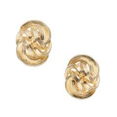 Tiffany & Co. 18 Karat Yellow Gold Domed Knot Clip Post Earrings