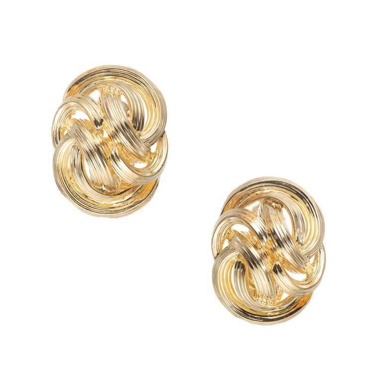 Tiffany & Co. 18 Karat Yellow Gold Domed Knot Clip Post Earrings For Sale