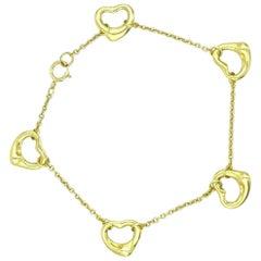 Tiffany & Co. 18 Karat Yellow Gold Elsa Peretti 5 Open Heart Bracelet