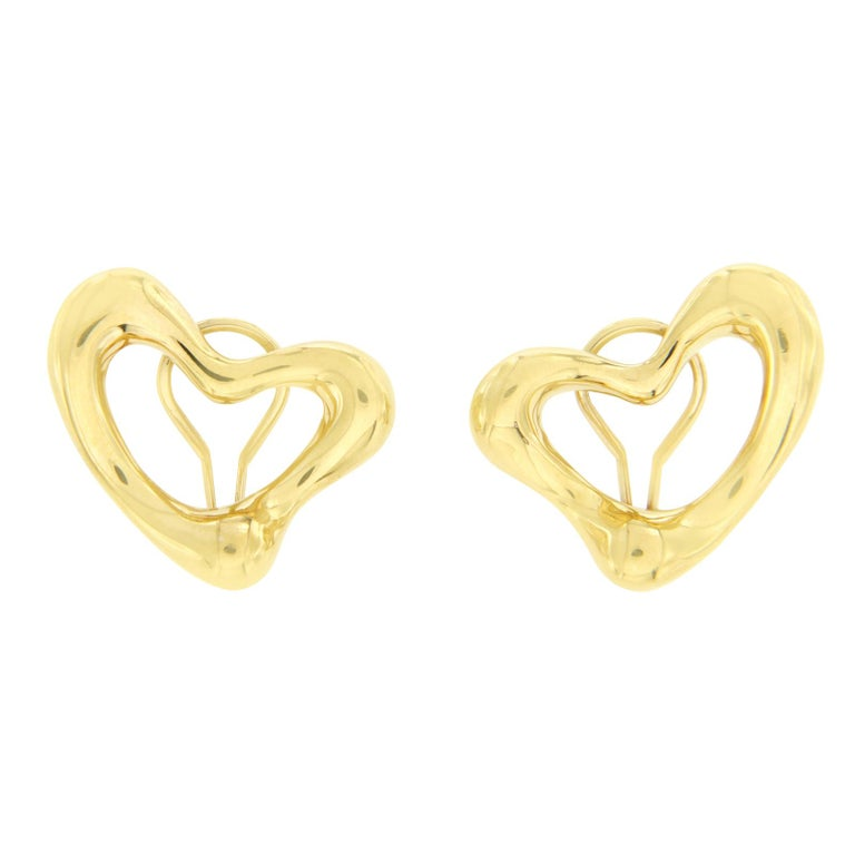 Tiffany Co 18 Karat Yellow Gold Elsa Peretti Open Heart Earrings For