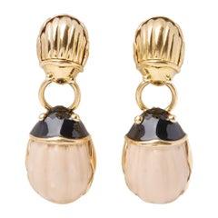 Tiffany & Co. 18 Karat Yellow Gold Enamel Beetle Drop Earrings