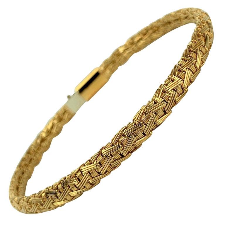 Tiffany & Co. 18 Karat Yellow Gold Flex Weave Ladies Bracelet For Sale