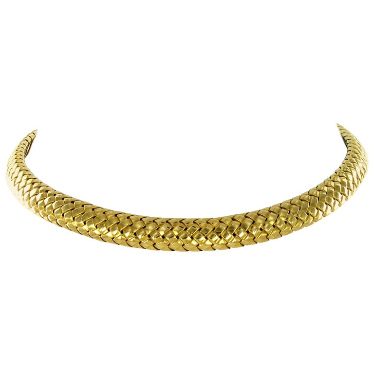 Tiffany & Co. 18 Karat Yellow Gold Flexible Collar Necklace For Sale