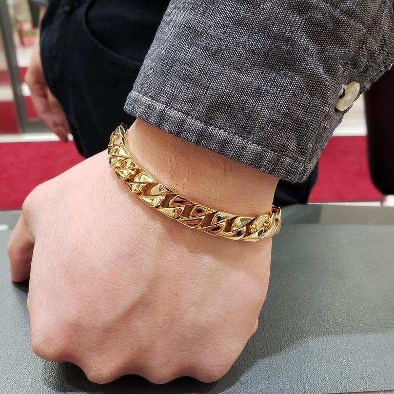 Women's or Men's Tiffany & Co. 18 Karat Yellow Gold Cuban Link Bracelet For Sale