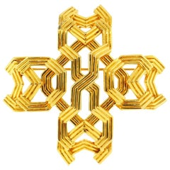 Tiffany & Co. 18 Karat Yellow Gold Geometric Cross Brooch or Pendant