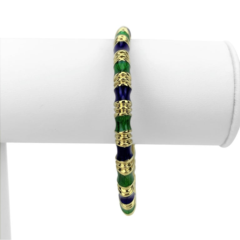 Tiffany & Co. 18 Karat Yellow Gold Green and Blue Enamel Bangle Bracelet In Good Condition In Brandford, CT