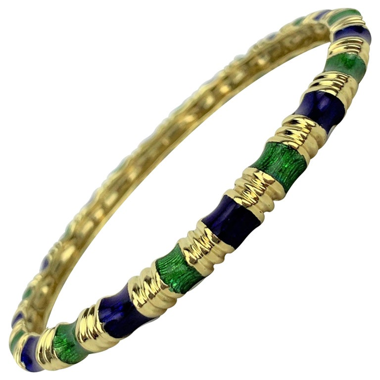 Tiffany & Co. 18 Karat Yellow Gold Green and Blue Enamel Bangle Bracelet