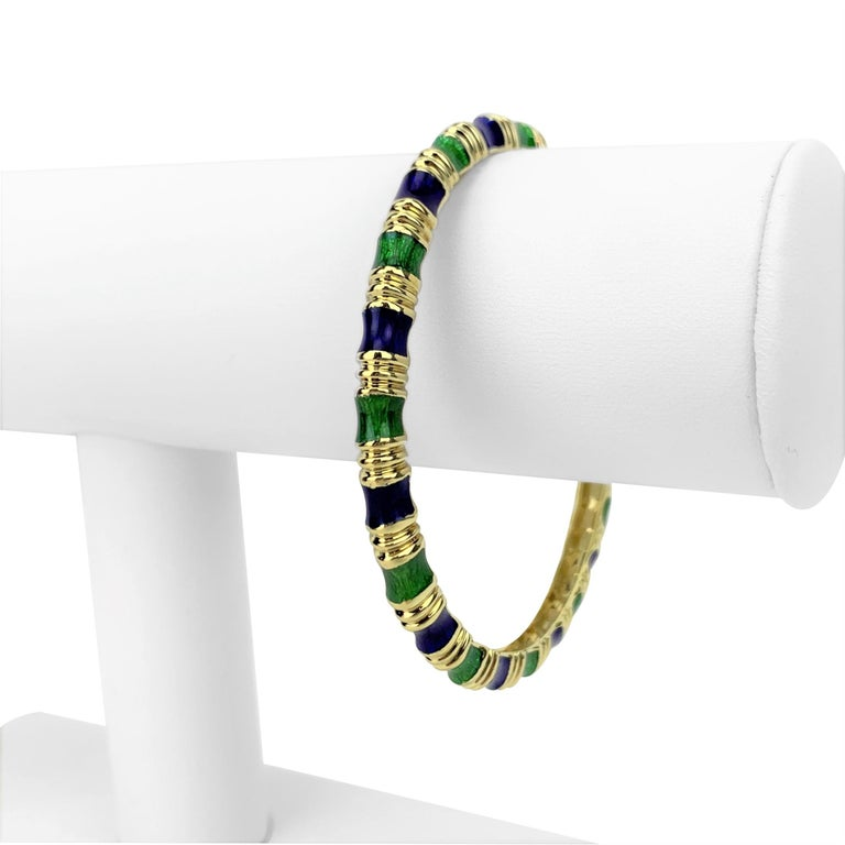 Tiffany & Co. 18k Yellow Gold Green and Blue Enamel Bangle Bracelet 7.5