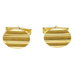 Tiffany & Co. 18 Karat Yellow Gold Groove Oval Cufflinks