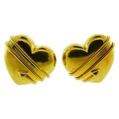 Tiffany & Co. 18 Karat Yellow Gold Heart and Arrow Clip-On Earrings, circa 1984