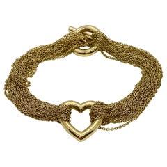 Tiffany & Co. 18 Karat Yellow Gold Heart Mesh Toggle Bracelet