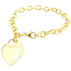 Tiffany & Co. 18 Karat Yellow Gold Heart Tag Bracelet