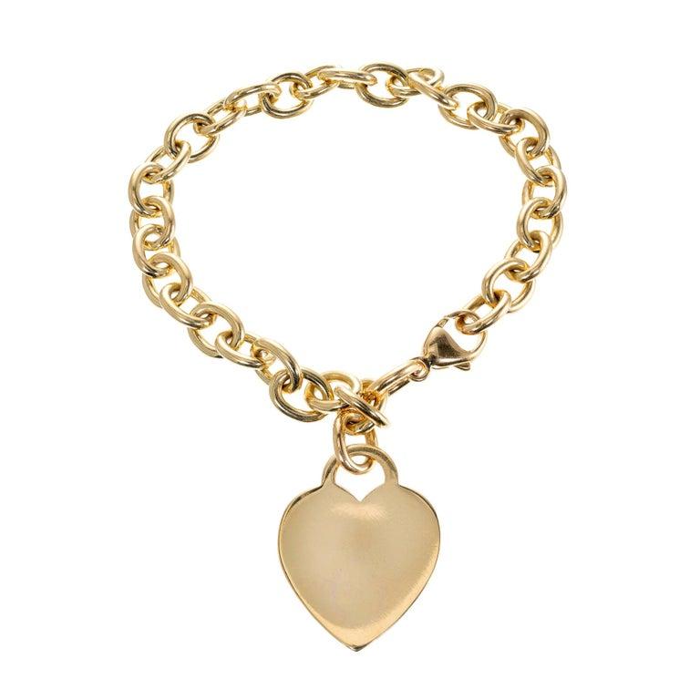 Tiffany & Co. 18 Karat Yellow Gold Heart Tag Link Bracelet