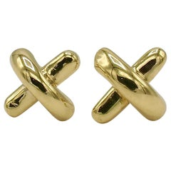 Tiffany & Co. 18 Karat Yellow Gold Kisses X-Motif Stud Earrings