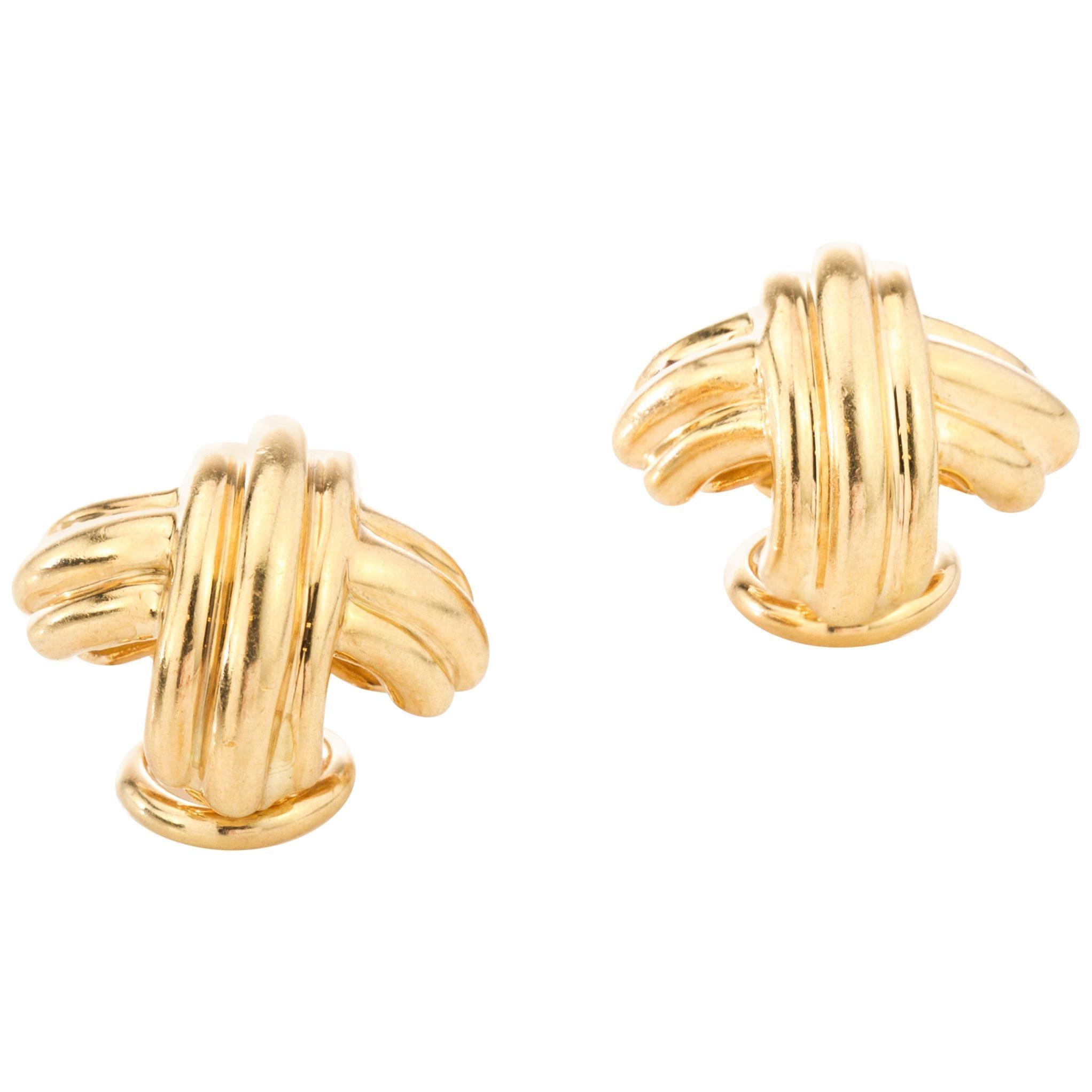 Tiffany & Co. 18 Karat Yellow Gold Ladies Clip-On Earrings