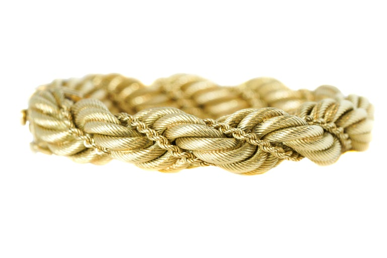 982862ab3 Contemporary Tiffany & Co. 18 Karat Yellow Gold Large Twisted Rope Bracelet  For Sale
