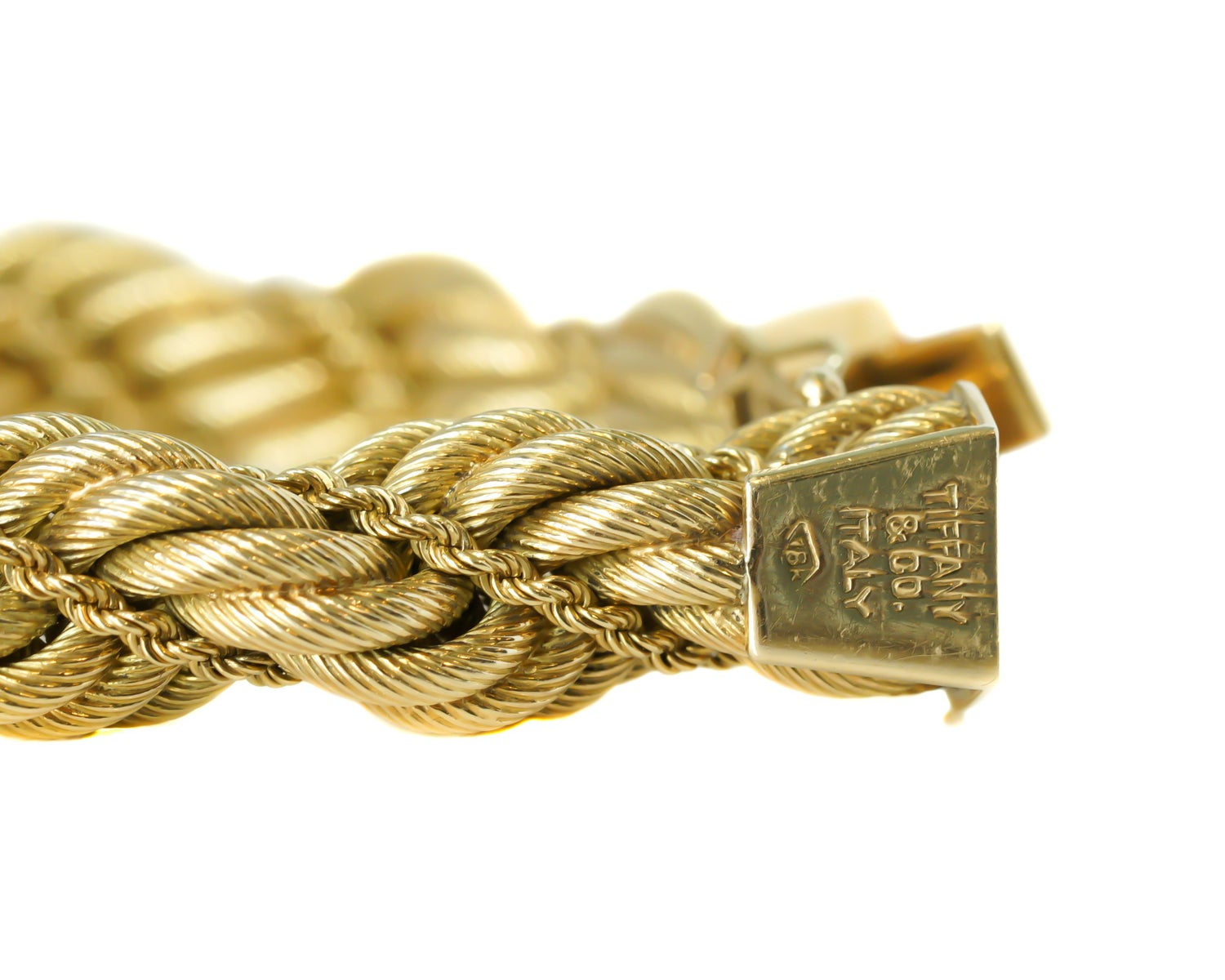 6f23e5fd3 Tiffany and Co. 18 Karat Yellow Gold Large Twisted Rope Bracelet at 1stdibs