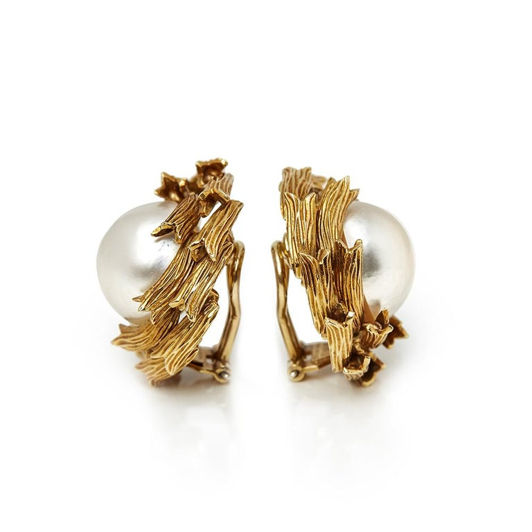 596079a1f Tiffany & Co. 18 Karat Yellow Gold Mabe Pearl Clip-On Earrings In Excellent