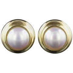 Tiffany & Co. 18 Karat Yellow Gold Mabe Pearl Earrings