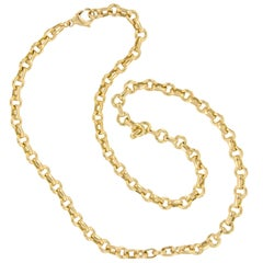 Tiffany & Co. 18 Karat Yellow Gold Made Handmade Round Link Chain Necklace