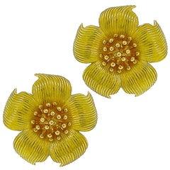 Tiffany & Co. 18 Karat Yellow Gold Magnolia Flower Earrings