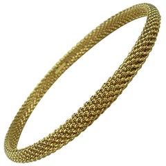 Tiffany & Co. 18 Karat Yellow Gold Mesh Bangle Bracelet