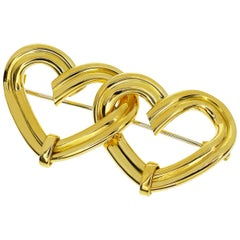 Tiffany & Co. 18 Karat Yellow Gold Open Heart Brooch