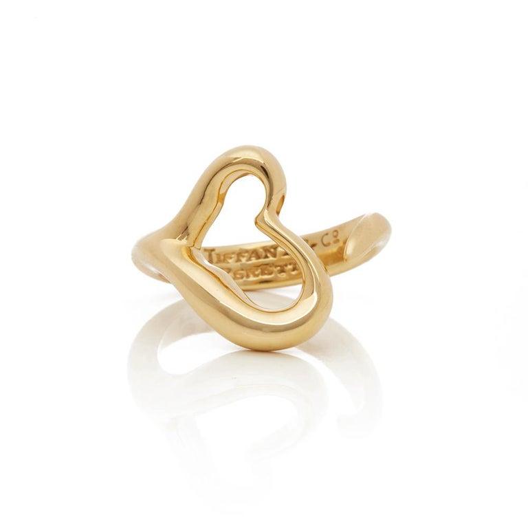 Modern Tiffany & Co. 18 Karat Yellow Gold Open Heart Elsa Peretti Ring For Sale