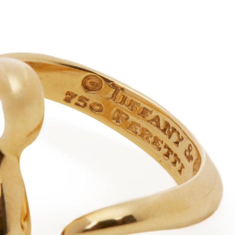 Tiffany & Co. 18 Karat Yellow Gold Open Heart Elsa Peretti Ring For Sale 3