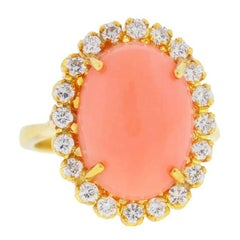 Tiffany & Co. 18 Karat Yellow Gold Oval Coral Stone Ring with Diamonds
