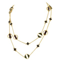 Tiffany & Co. 18 Karat Yellow Gold Paloma Picasso Enamel Station Chain Necklace