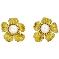 Tiffany & Co. 18 Karat Yellow Gold Pearl Rose Flower Earrings