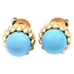 Tiffany & Co. 18 Karat Yellow Gold Persian Turquoise Stud Earrings
