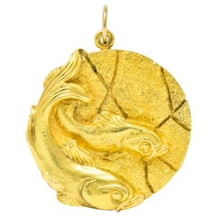 Tiffany & Co. 18 Karat Yellow Gold Pisces Zodiac Large Medallion Pendant, 1970s