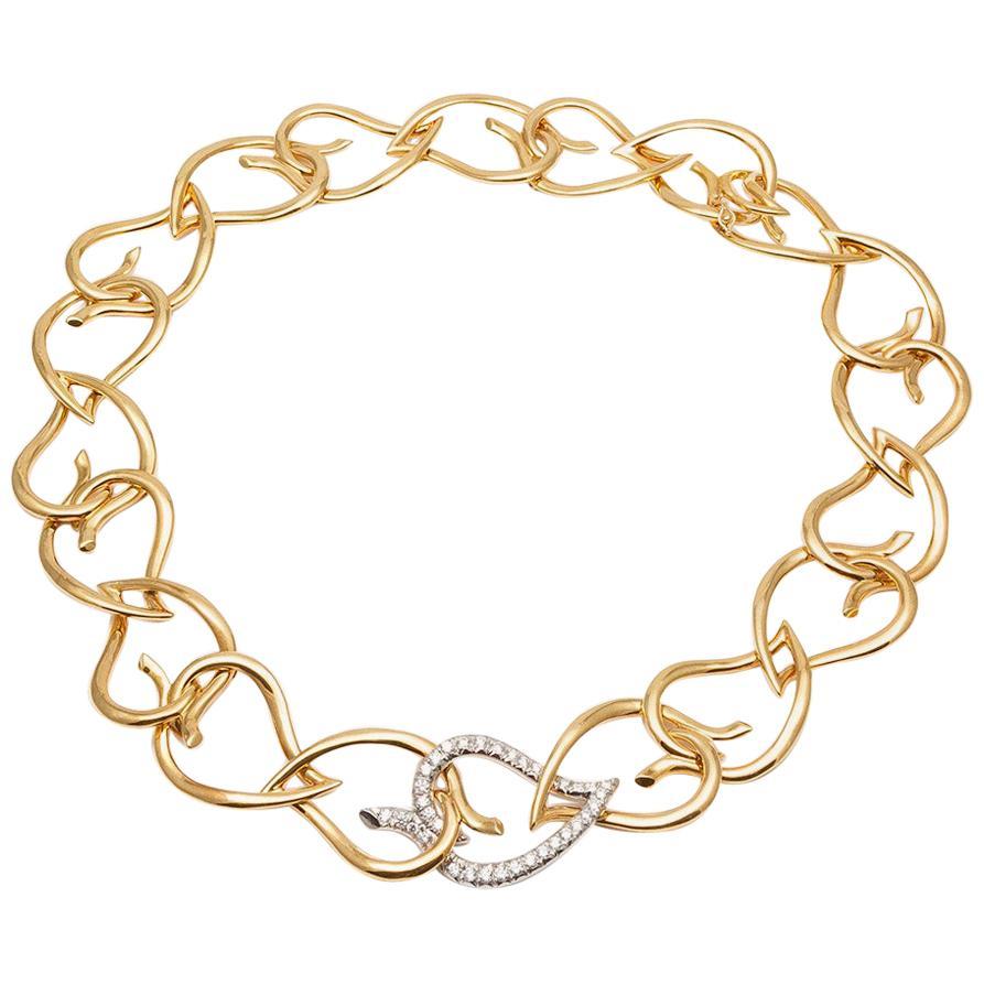 Tiffany & Co. 18 Karat Yellow Gold Platinum and Diamond Open Leaf Necklace