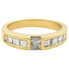 Tiffany & Co. 18 Karat Yellow Gold Princess Cut Diamond Stack Ring 0.77 Carat