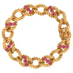 Tiffany & Co. 18 Karat Yellow Gold Rope Style with Burmese Rubies Bracelet