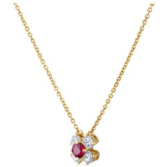 Tiffany & Co. 18 Karat Yellow Gold Ruby Necklace