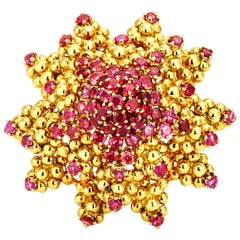 Tiffany & Co. 18 Karat Yellow Gold Ruby Sun Starfish Brooch