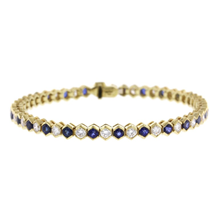 Tiffany & Co. 18 Karat Yellow Gold Sapphire and Diamond Bracelet For Sale