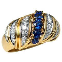 Tiffany & Co. 18 Karat Yellow Gold Sapphire Diamond Vintage Ring